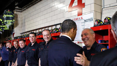 May 5: President Obama talks with fire-fighters at the Engine 54 Ladder 4 Fire Department firehouse in Times Square, during a visit to the World Trade Center site in New York City. (REUTERS/Kevin Lamarque)