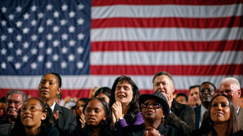 April 21: Supporters listen to U.S. President Barack Obama speak at a fundraiser in Los Angeles, California. (Reuters/Jim Young)