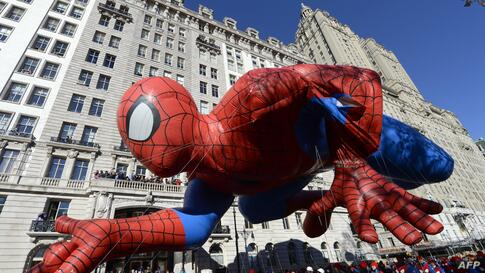 The Spiderman balloon makes its way down Central Park West during the 87th Macy's Thanksgiving Day Parade in New York.