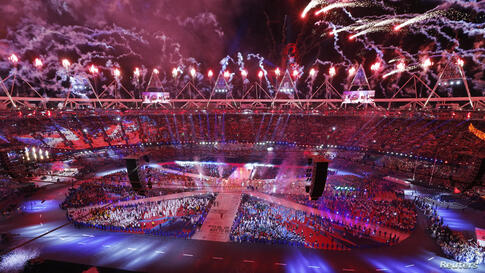 Fireworks explode during the closing ceremony of the London 2012 Olympic Games at the Olympic Stadium August 12, 2012.