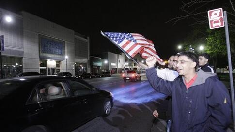 Arab Americans celebrate the news of the death of Osama Bin Laden in Dearborn, Mich., early Monday, May 2, 2011. President Barack Obama announced Sunday night, May 1, 2011, that Osama bin Laden was killed in an operation led by the United States.(AP Photo