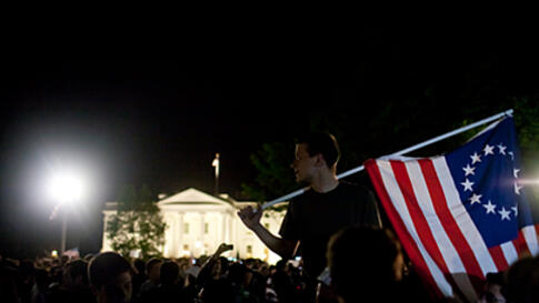 Celebrations erupt at the White House in Washington, D.C. at the news of the death Osama bin Laden, May 2, 2011.