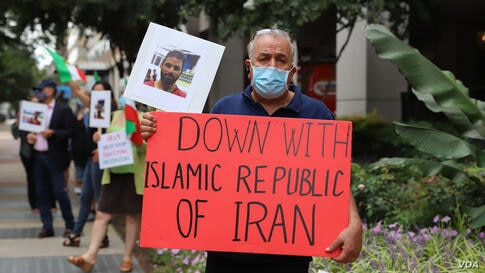 Iranian-Americans rally in front on Iranian interests' section washington DC