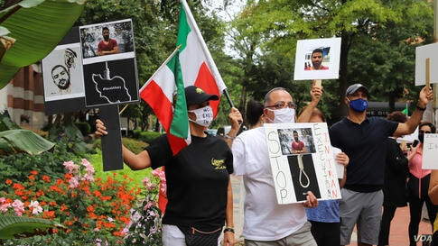 Iranian-Americans rally in front on Iranian interests' section washington DC 2