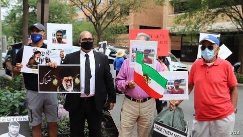 Iranian-Americans rally in front on Iranian interests' section washington DC 6