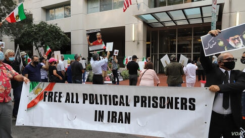 Iranian-Americans rally in front on Iranian interests' section washington DC 7