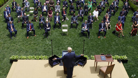President Donald Trump speaks during an event on police reform, in the Rose Garden of the White House, Tuesday, June 16, 2020,…