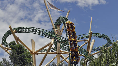 The Cheetah Hunt roller coaster runs without passengers at Busch Gardens Tampa Bay, Wednesday, June 10, 2020, in Tampa, Fla…