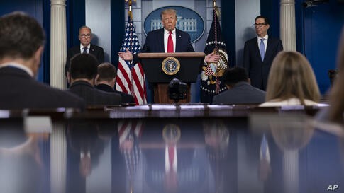 President Donald Trump speaks during a news briefing at the White House, Thursday, July 2, 2020, in Washington, as White House…