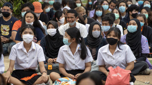 Students participate in protest at King Mongkut's University in Bangkok, Thailand, Thursday, July 30, 2020. Students were…