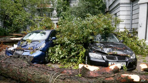 A tree is seen fallen on the cars in Kyiv, Ukraine, Tuesday, July 21, 2020. Heavy winds swept across Kyiv, downing trees and…