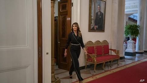 """First lady Melania Trump arrives for an Indian Health Service (IHS) Task Force briefing on """"Protecting Native American Children…"""
