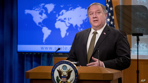 Secretary of State Mike Pompeo speaks during a news conference at the State Department in Washington, Wednesday, June 10, 2020…