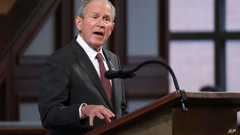 Former President George W. Bush speaks during the funeral service for the late Rep. John Lewis, D-Ga., at Ebenezer Baptist…