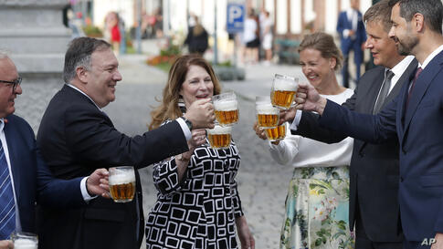 U.S. Secretary of State Mike Pompeo, second left, his wife Susan Pompeo, third left, Czech Republic's Foreign Minister Tomas…
