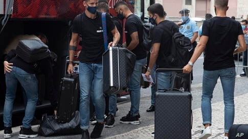 Atletico's Madrid players arrive to the team hotel in Lisbon, Portugal, Tuesday, Aug. 11, 2020.  Atletico are scheduled to play…