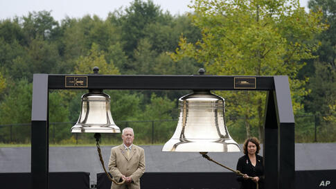 Bells are rung as each name is read at a 19th anniversary observance of the Sept. 11 terror attacks, at the Flight 93 National…