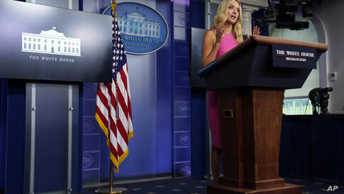 White House press secretary Kayleigh McEnany speaks during a press briefing at the White House, Wednesday, Sept. 9, 2020, in…
