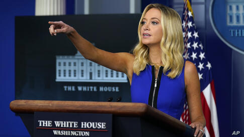 White House press secretary Kayleigh McEnany speaks during a press briefing at the White House, Thursday, Sept. 3, 2020,…
