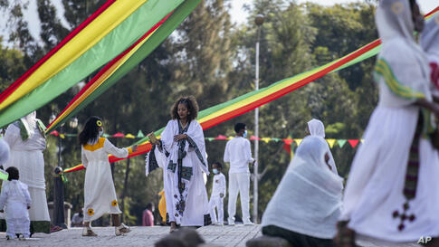 "Ethiopian Orthodox faithful attend a prayer ceremony to mark the holiday of ""Enkutatash"", the first day of the new year in the…"