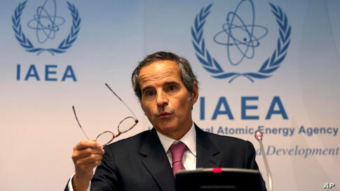 Director General of International Atomic Energy Agency, IAEA, Rafael Mariano Grossi from Argentina, addresses the media during…