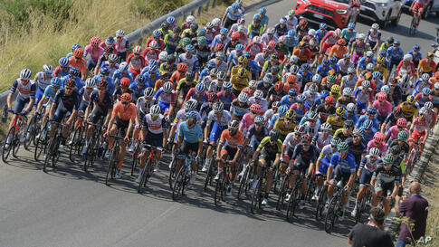 The pack of cyclist competes during the 3rd stage of the 55th edition of the Tirreno Adriatico cycling race, from Follonica to…