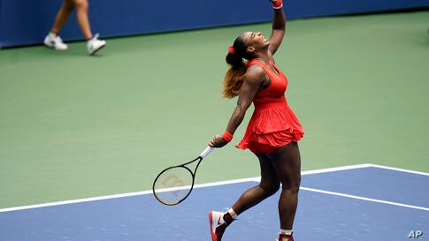 Serena Williams, of the United States, reacts during a match against Tsvetana Pironkova, of Bulgaria, during the quarterfinals…