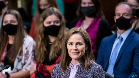 Supreme Court nominee Amy Coney Barrett testifies during the third day of her confirmation hearings before the Senate Judiciary…