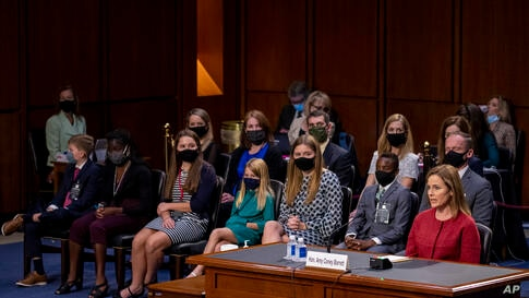 Supreme Court nominee Amy Coney Barrett speaks a confirmation hearing before the Senate Judiciary Committee, Tuesday, Oct. 13,…