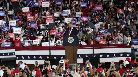 President Donald Trump speaks during a campaign rally at Middle Georgia Regional Airport, Friday, Oct. 16, 2020, in Macon, Ga. …