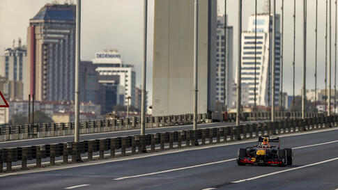 Red Bull driver Alexander Albon of Thailand steers his car on the 15 July Martys Bridge, formerly known as Bosphorus Bridge…