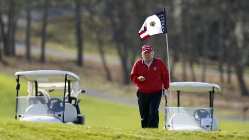 President Donald Trump plays golf at Trump National Golf Club, on Thanksgiving, Thursday, Nov. 26, 2020, in Sterling, Va. (AP…