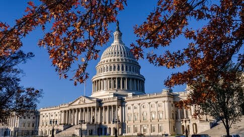 Autumn leaves frame the Capitol in Washington, early Monday, Nov. 9, 2020. The presidential race is over, but the future…