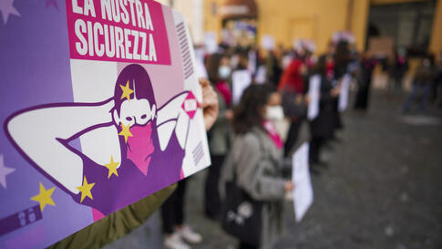 Women take part in a demonstration on the International Day for the Elimination of Violence against Women, in Rome, Wednesday,…