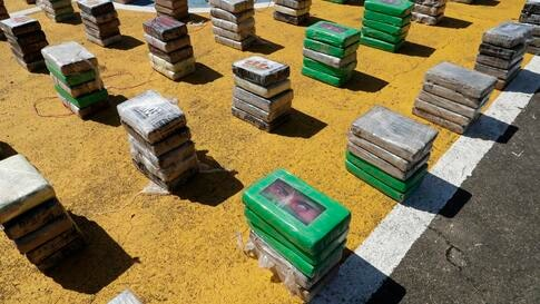 Packages of cocaine seized by the Air-Naval police are displayed to the press at a naval base in Panama City, Monday, Nov. 23,…