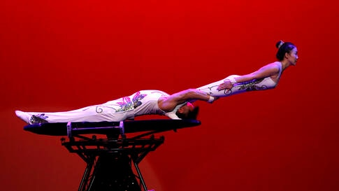 Gymnasts from the Pyongyang Circus Theater perform during Mother's Day Monday, Nov. 16, 2020, in Pyongyang, North Korea. (AP…