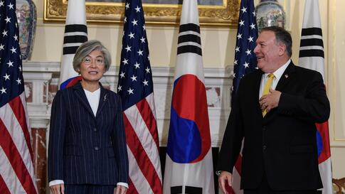 Secretary of State Mike Pompeo meets with South Korean Foreign Minister Kang Kyung-wha at the State Department in Washington,…