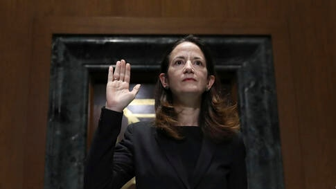 President-elect Joe Biden's pick for national intelligence director Avril Haines is sworn in during a confirmation hearing…