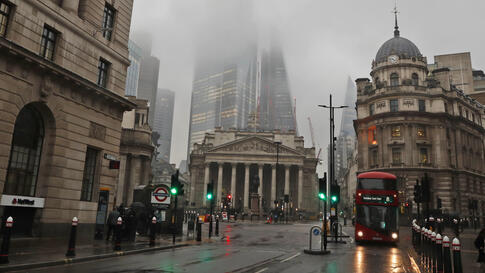 An almost empty Bank district of London, Wednesday, Jan. 13, 2021 during England's third national lockdown to curb the spread…