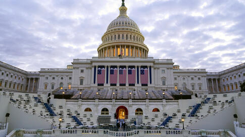 Preparations take place before a rehearsal for President-elect Joe Biden's Presidential Inauguration at the U.S. Capitol in…
