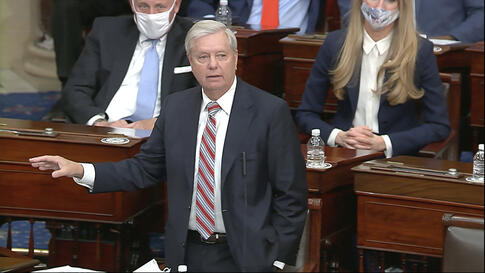 In this image from video, Sen. Lindsey Graham, R-S.C., speaks as the Senate reconvenes to debate the objection to confirm the…