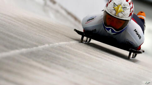 Katie Uhlaender of the United States starts during the women's skeleton race at the Bobsleigh and Skeleton World Championships…