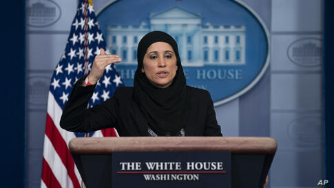 Deputy Director of the National Economic Council Sameera Fazili speaks during a press briefing at the White House, Wednesday,…
