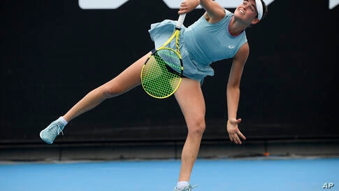 United States' Jennifer Brady serves to compatriot Madison Brengle during their second round match at the Australian Open…