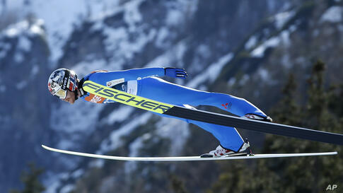 Norway's Robert Johansson competes at the ski flying individual World Cup event in Planica, Slovenia, Thursday, March 25, 2021…