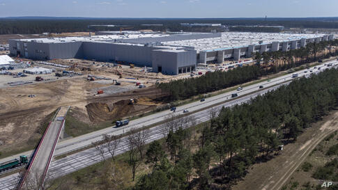 The construction site of the new Tesla Gigafactory for electric cars is pictured in Gruenheide near Berlin, Germany, Tuesday,…