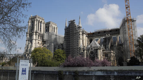 Notre Dame cathedral under reconstruction is pictured on the second anniversary of its blaze, Thursday, April 15, 2021 in Paris…
