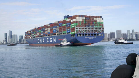 The CMA CGM Argentina arrives at PortMiami, the largest container ship to call at a Florida port, Tuesday, April 6, 2021, in…