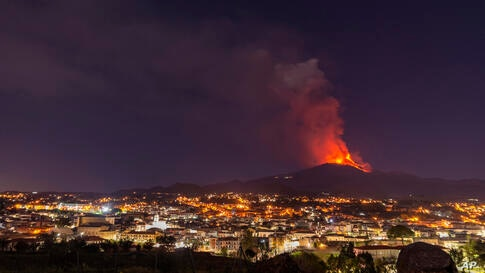 Lava erupts from Mt. Etna volcano during its seventeenth  eruption since the volcanic activity started on Feb. 16, 2021, as…