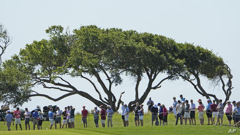 Fans watch the action along the second fairway during the first round of the PGA Championship golf tournament on the Ocean…